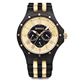 Bewell Wooden Watches for Men Date Luminous Pointers Quartz Mens Wood Watch W116C (Ebony and Maple)