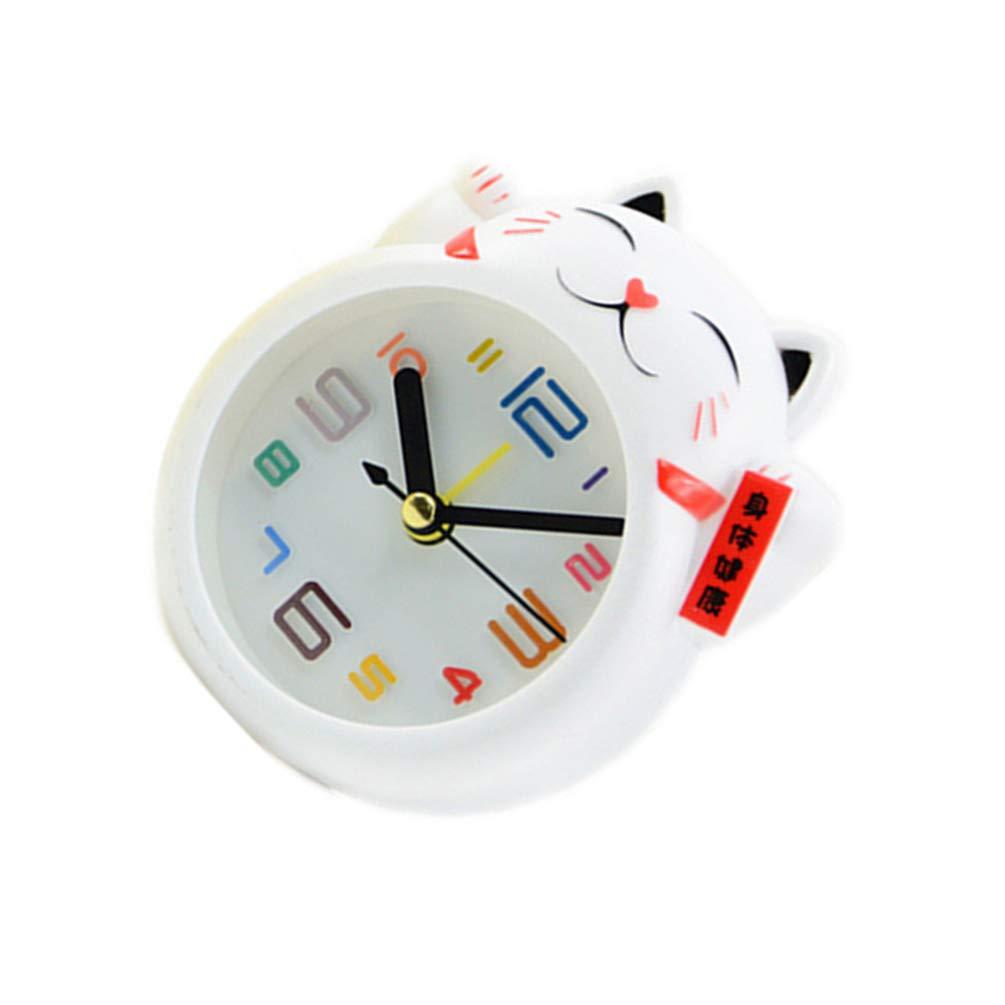 VOSAREA Chat r/éveil Mignon Dessin anim/é Enfants Horloge de Table Non-Ticking pour Enfants Filles gar/çons Chambre Cadeau d/écor Blanc