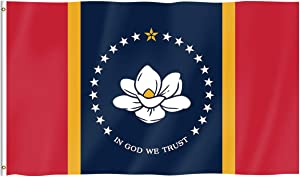 Pterosaur New Mississippi State Flag, Magnolia Flag in GOD WE Trust, Brass Grommets Indoors and Outdoors 3x5 Ft