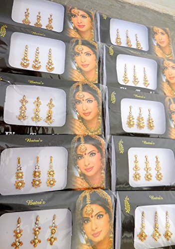 Amazon.com : 4 Pack of Gold Long Tikka Bindi Bridal Stone Bindis Bollywood Self Adhesive Stickers Body art Makeup Artist Queen Long Face Jewel : Beauty