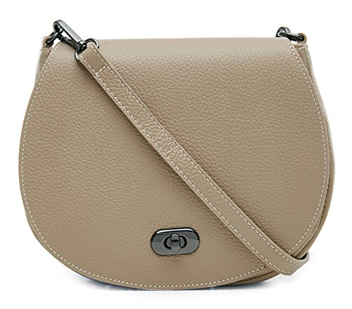 Italian Di Bag Postman's Genuine Lock Taupe Light Leather 100 Jinne Crossbody Montte Shoulder Women's with q4wdgII