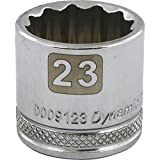 Dynamic Tools 3/8-Inch Drive 12 Point Metric, 23-Millimeter Standard Length, Chrome Finish Socket