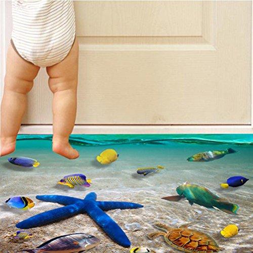 BIBITIME Underwater World Wall Stickers Starfish Vinyl Decal Tropical Fish Sea Turtle Decor Bathroom Floor Sticker Nursery Bedroom Decorations 23.62