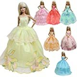 5 Pcs Handmade Fashion Wedding Party Gown Dresses & Clothes for Barbie Doll Gift- Ramdon style
