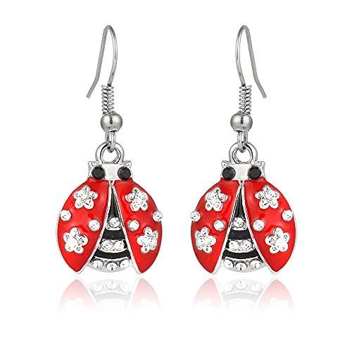 Liavy's Ladybug Fashionable Earrings - Enamel - Fish Hook - Sparkling Crystal - Unique Gift and Souvenir
