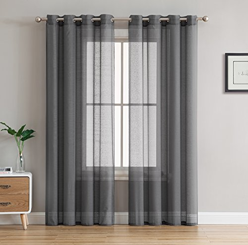 HLC.ME 2 Piece Semi Sheer Voile Window Curtain Drapes Gromme