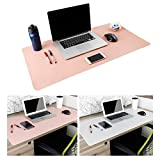 Leather Desk Mouse Pad, Desk Pad Protecter 31.5'' x 15.7'' Non-Slip Comfortable Desk Writing Mat Waterproof PU Leather Mat Dual Use Office Desk Mat (Pink&Silver)