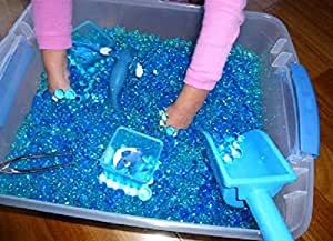 Kids Tactile Sensory Experience - JellyBeadZ Brand 3 Color-Blue-Water Bead Gel 3 - 10 Gram Packs. BeadZ Only