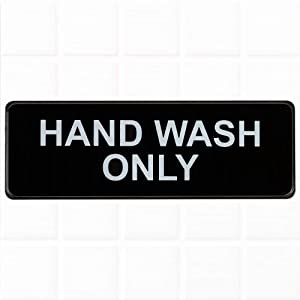 Hand Wash Only Sign - Black and White, 9 x 3-inches Hand Wash Only Sink Sign, Restaurant Compliance Signs by Tezzorio