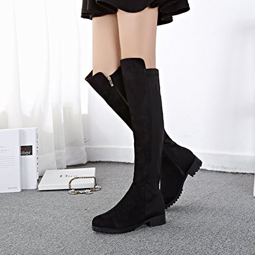 KHSKX-The Female Winter And Over The Knee Boots Stovepipe Shoes Boots With Flat Boots Female Boots Suede High Single Cylinder Black