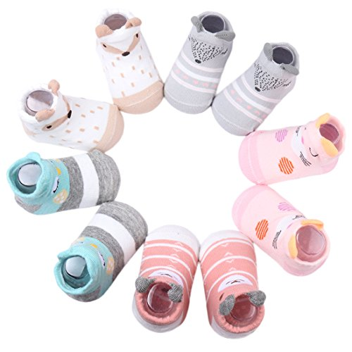 Dicry 5 Pairs Newborn 3D Ears Cartoon Animal Anti Slip Cotton Baby Toddler Socks (0-6 Months, B-Pairs of 5)