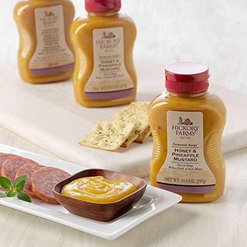 Hickory Farms Honey & Pineapple Mustard 3 Pack + hor d'oeuvres spread knife Hickory Honey Hams