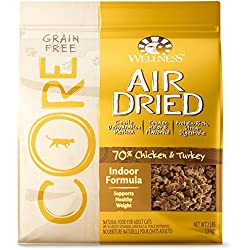 Wellness CORE Air Dried Natural Grain Free Dry Indoor Cat Food, Chicken & Turkey, 2-Pound Bag
