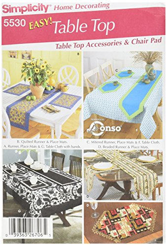 Simplicity Chair Cushions, Tablecloth, Place Mats, Runners, and Napkins Sewing Pattern Set, One ()