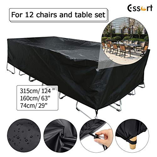 ESSORT Patio Furniture Cover, Outdoor Furniture Set Cover, Garden Table Chair Lounge Porch Sofa Loveseat Protector Cover, Waterproof Dust Proof Protective Covers (124