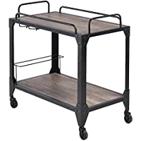 Major-Q Industrial Styled Serving Cart Dining / Kitchen / Living Room, Rectangular, Wood Rustic and Oak Finish, 32 x 16 x 31