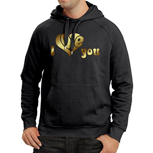 Hoodie I Love You Gifts, Art Quotes - Valentine Gift Ideas (Small Black Multi Color)