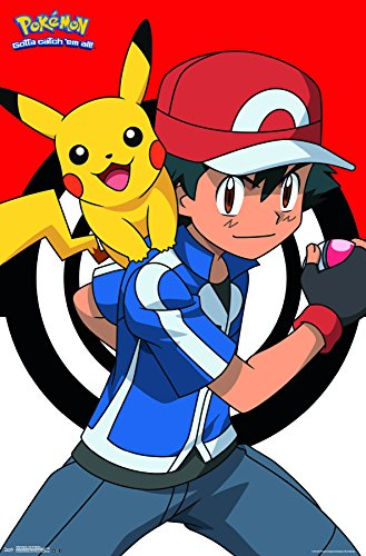 (Trends International Pokémon-Ash and Pikachu Premium Wall Poster, 22.375