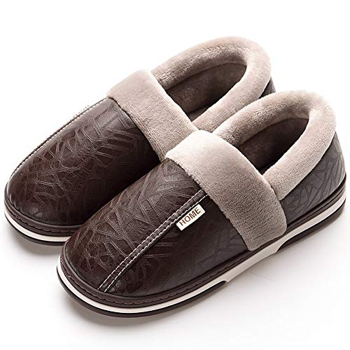 Mens Womens Snow Boots Moccasin Slippers Winter Slip-On Ankle Booties Warm Foam Memory Fur Lined Anti-Slip Waterproof Outdoor Shoes Flat ()