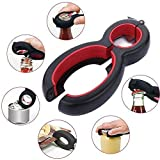 zwave edge - Wffo Multifunction Portable Bottle Opener 6 in1 Stainless Steel Manual Opener (Black and Red)