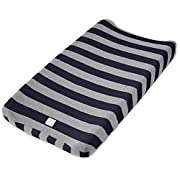 "Burt's Bees Baby - Bold Stripe Changing Pad Cover, 100% Organic Changing Pad for Standard 16"" x 32"" Changing Pad (Blueberry)"