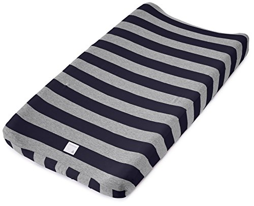 "Burt's Bees Baby - Bold Stripe Changing Pad Cover, 100% Organic Changing Pad for Standard 16"" x 32"" Changing Pad (Blueberry Outfit)"