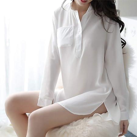 jiushixw Perspectiva Camisa Blanca tentación Uniforme Fuera ...