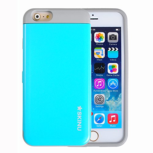 iPhone 6 Case, SKINU [Cyan] iPhone 6 (4.7) Case Credit Card [Shockproof] [Kickstand] [Mirror] Hybrid Protective Cover Case for iPhone 6 (4.7 inch) (2014) - Retail Packaging NUIP6CY