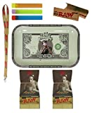 Bundle - 8 Items - Wiz Khalifa Limited Edition RAW Rolling Tray with 1 1/4 Papers and More