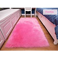 Felala Super Soft Faux Fur Fake Sheepskin Sofa Couch Stool Casper Vanity Chair Cover Rug/Solid Shaggy Area Rugs for Living Bedroom Floor Bright Pink