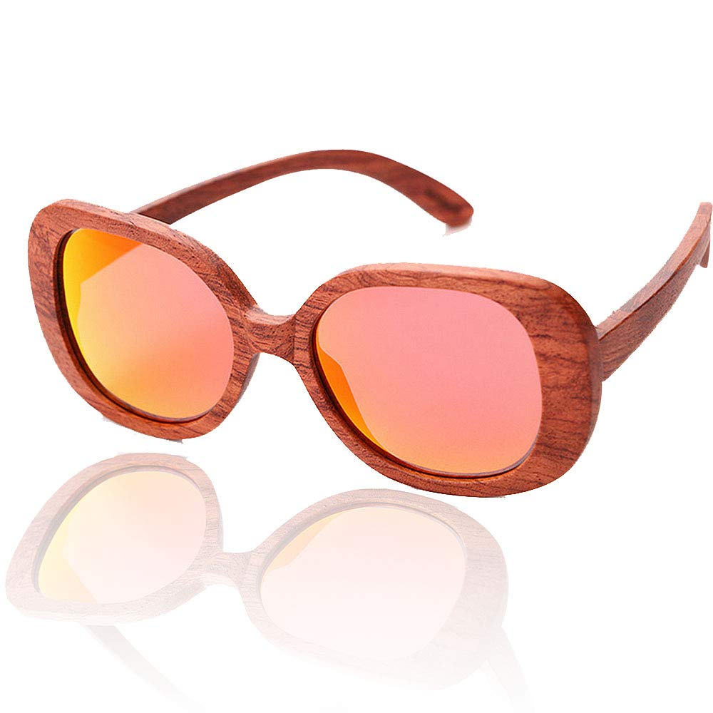 Women's Sunglasses Handmade Bamboo Polarized for Women Wooden Sunglasses UV Predection Driving Spring Hinge Beach Sunglasses,
