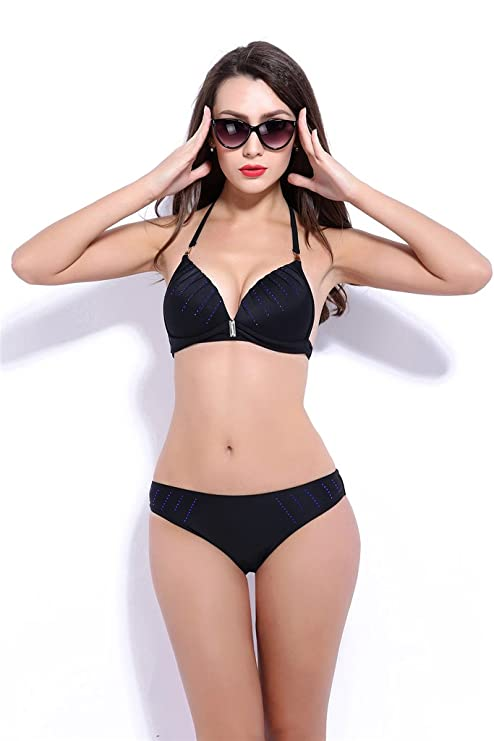 Fortunings JDS Elegant attractive Halter push up bra beach bikini set beach queens swimwear for women