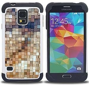 """SAMSUNG Galaxy S5 V / i9600 / SM-G900 - 3 en 1 impreso colorido de Altas Prestaciones PC Funda chaqueta Negro cubierta gel silicona suave (Arte de la pared de madera Estructura de Diseño"""")"""