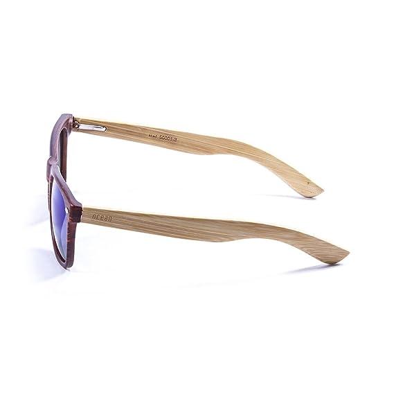 Ocean Sunglasses Beach Wood - Lunettes de Soleil en Bambou - Monture : Bambou - Verres : Revo Bleu (50001.3) WfDBKu68