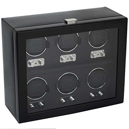 WOLF 270702 Heritage 6 Piece Watch Winder with Cover, Black by WOLF (Image #4)