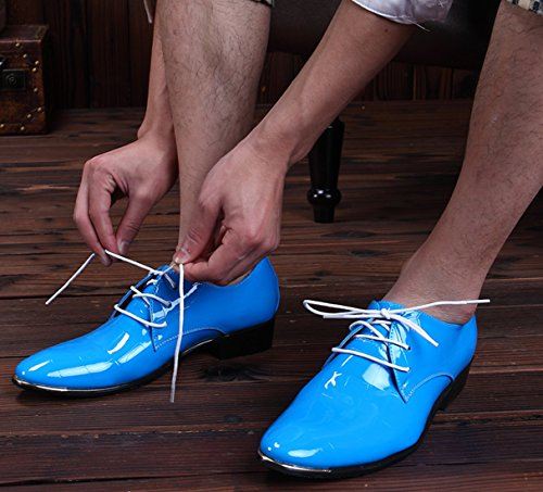 Up Santimon Lace Toe Men Leather Black Red Derby Shoes Patent Pointed Fashion Blue Blue Dress Oxford UB8qUwS