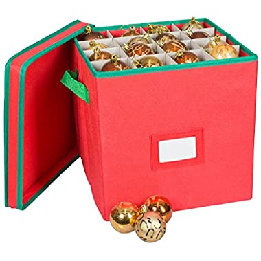 Pakkon Christmas Decoration Ornaments Storage Box with 4 Trays, Red