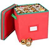 Pakkin Christmas Ornaments Storage Box with Lid and 4 Adjustable Layers - Fits 64 Round Ornaments, 12 x 12 x 12–Inches, (Red)