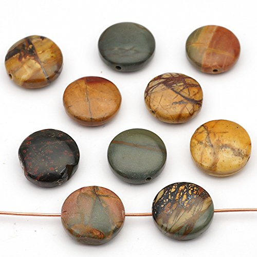 10 Pcs Multicolor Flat Round Red Creek Jasper Disk Beads 15mm (Jasper Red Creek)