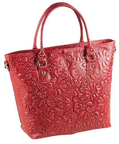 PELLE ITALY Leder Handtasche PI10093 Damen Shopper Tasche Echt Leder 35x27x13 cm (BxHxT), Farbe:Rot Rot