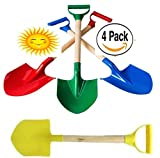 Sizzlin' Cool 21'' Heavy Duty Wooden Kids Sand Shovels with Plastic Spade & Handle (Red, Blue, Yellow & Green) Complete Gift Set Bundle - 4 Pack