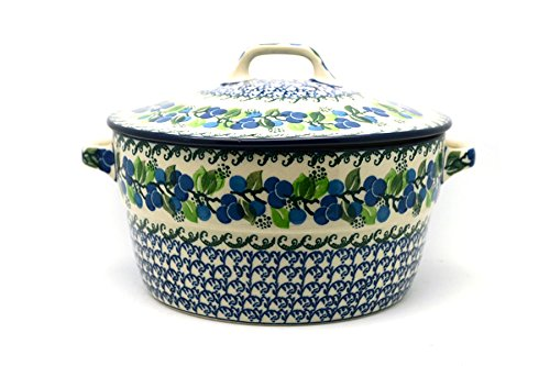 Polish Pottery Covered Casserole (Polish Pottery Baker - Round Covered Casserole - Blue Berries)