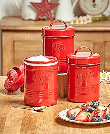 Vintage Set Of 3 Red Metal Kitchen Canisters. Made From Steel. Tea, Sugar
