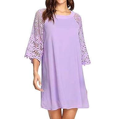Frashing Damen Frauen Chiffon-Kleid Einfarbig Spitzenärmel Elegantes  Langarm-Kleid Gerades Kleid Kurzes Kleid c346ed0af8