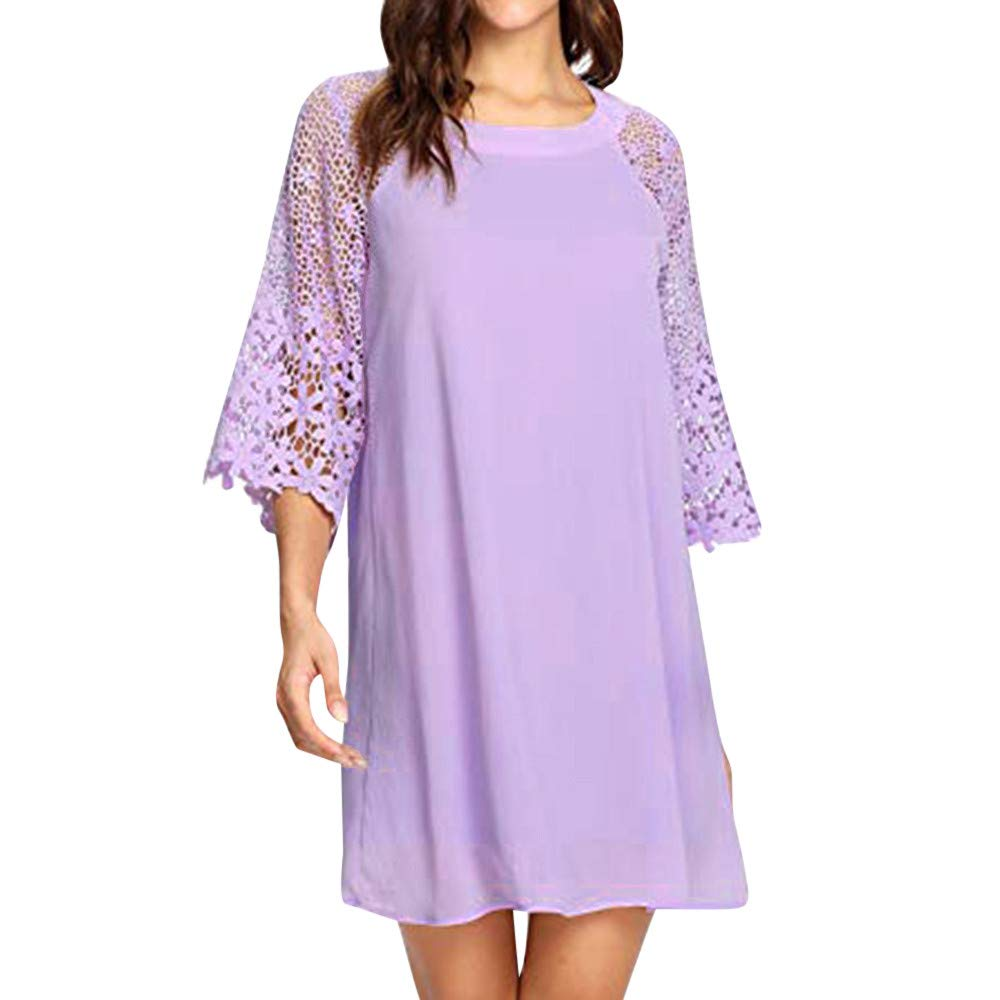 〓COOlCCI〓Women's Casual Crewneck Half Sleeve Summer Lace 3/4 Sleeve Chiffon Tunic Dress Shift Mini Dresses Purple