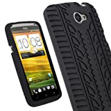 iGadgitz Black Silicone Skin Case Cover with Tire Tread Design for HTC One X S720e & HTC One X+ Plus Android Smartphone Mobile Phone + Screen Protector