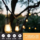 Mpow LED Outdoor String Lights, 49Ft Commercial Grade Lights 16 Edison Vintage Dimmable Bulbs (15 Sockets, 1 Spare Bulb), Waterproof Connectable Strand for Bistro Porch Patio Garden UL Listed (Black)