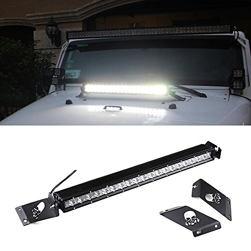 "iJDMTOY Complete Set Hood Mount 21"" 100W CREE High Power LED Light Bar System Combo For 2007-2016 Jeep Wrangler JK"