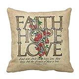 alerie Sassoon Faith Hope Love Christian Bible Verse Throw Pillowcase Cover 16in x 16in