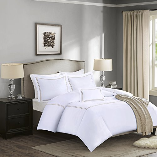 Madison Park Signature Down 1000-Thread Count Embroidered Cotton Duvet Cover Set Tan King
